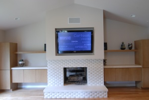 in wall speakers above tv
