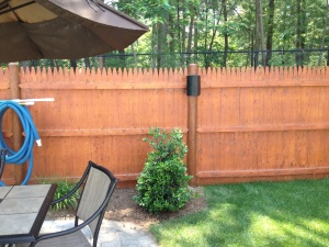 outdoor speaker on fence