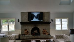 TV over custom fireplace